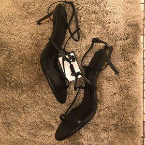 Zara black strappy sandals in black
